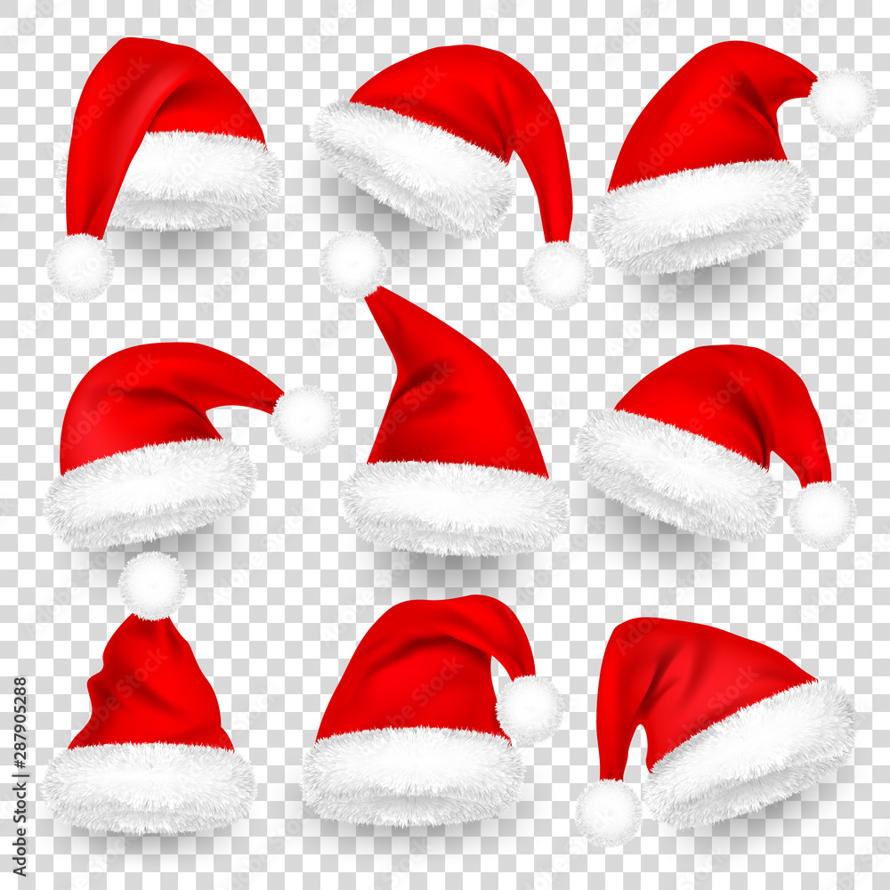 Fototapety, obrazy: Christmas Santa Claus Hats With Fur and Shadow Set. New Year Red Hat Isolated on Transparent Background. Winter Cap. Vector illustration.