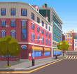Town with buildings and empty street, 3d look of city road and houses. Bushes and trees, greenery cityscape. Skyline, crossroad with zebra. Cityscape with houses facades. Ubran landscape. Flat cartoon