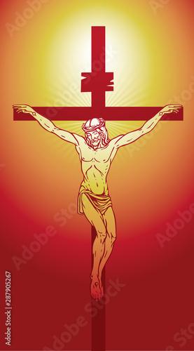 Valokuva Vector illustration of religious symbol crucifix