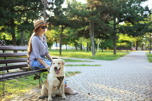 Young blind woman with guide dog in park Fototapet