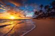 canvas print picture - Landscape of paradise tropical island beach, sunrise shot