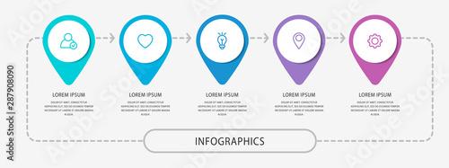 Fotografie, Obraz  Vector modern infographic flat template pin for five paper label, diagram, graph, presentation