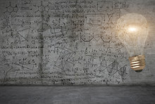 A Bright Light Bulb Against The Background With Maths And Science Sketches On A Wall
