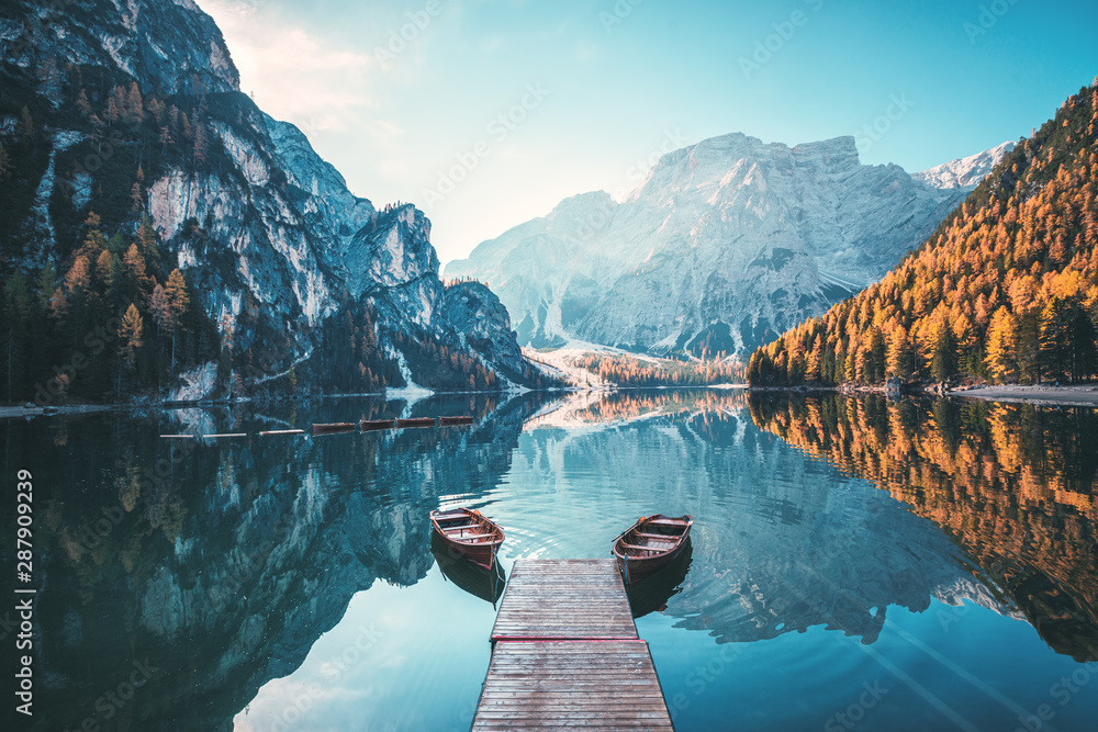 Fototapety, obrazy: Boats on the Braies Lake ( Pragser Wildsee ) in Dolomites mountains, Sudtirol, Italy