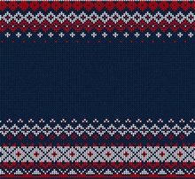 Handmade Knitted Abstract Background Pattern With Scandinavian O