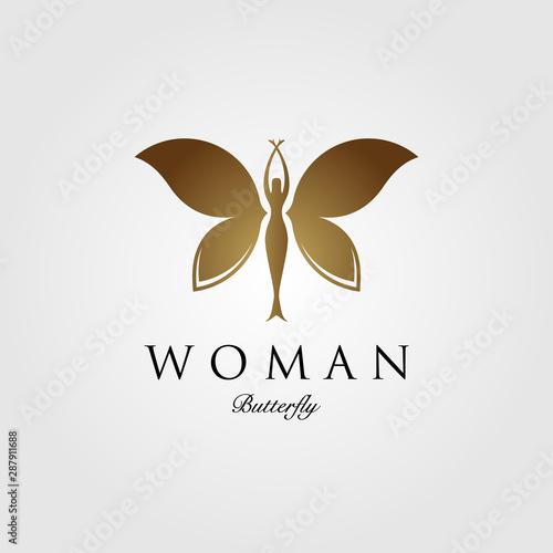 Fototapeta  beauty flying woman vintage butterfly logo design illustration