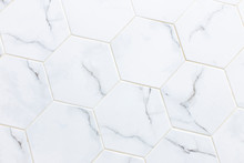 White Hexagon Marble Tile Wall...