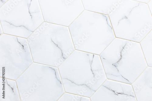 Fototapeta White hexagon marble tile wall for texture background. obraz