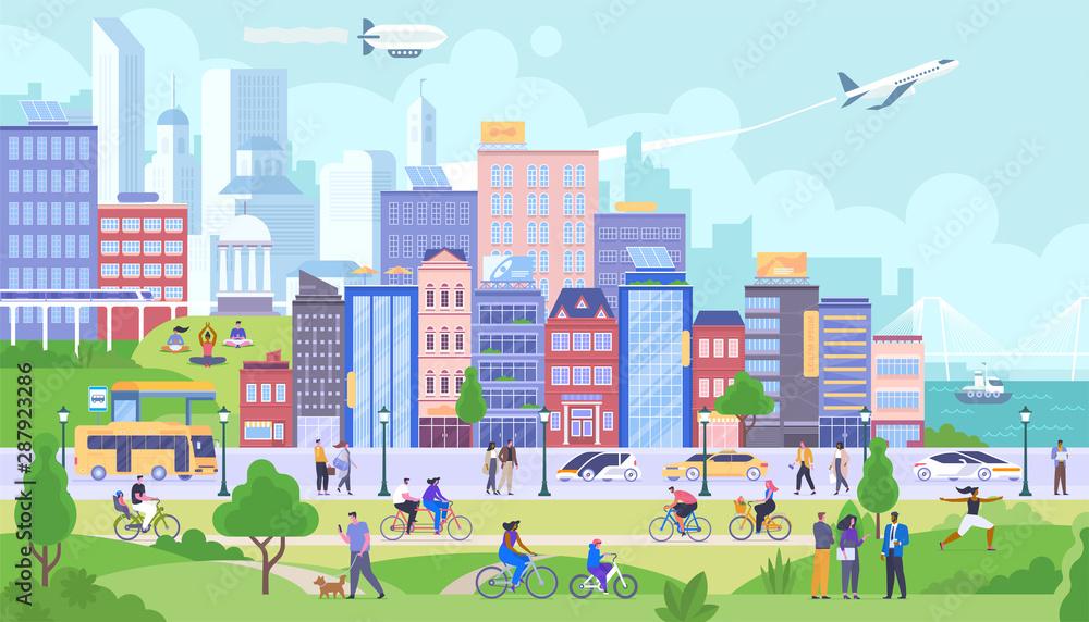 Fototapeta Modern city panorama flat vector illustration