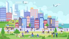 Modern City Panorama Flat Vector Illustration