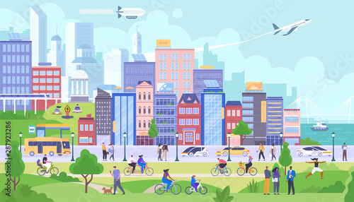 Modern city panorama flat vector illustration