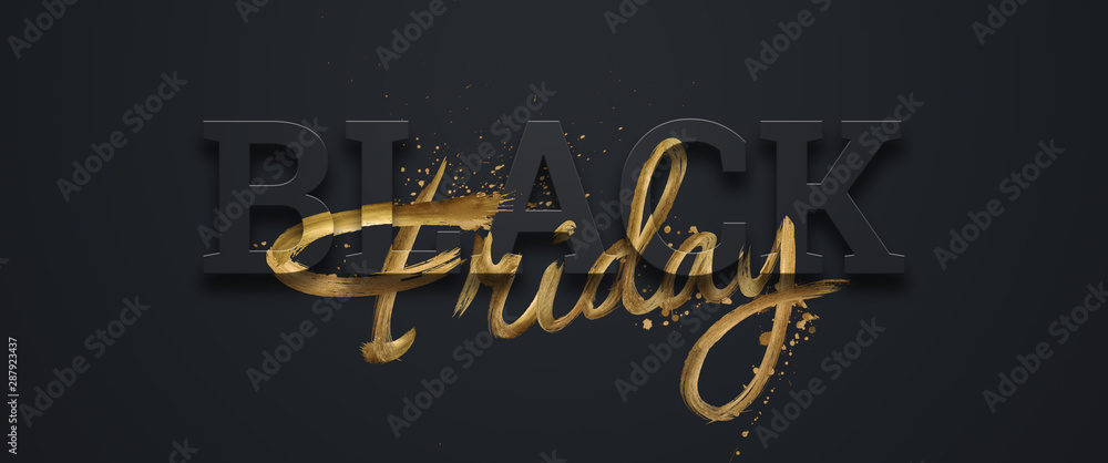 Fototapeta Black friday sale inscription gold letters on a black background, horizontal banner, design template. Copy space, creative background. 3D illustration, 3D design.