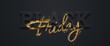 canvas print picture - Black friday sale inscription gold letters on a black background, horizontal banner, design template. Copy space, creative background. 3D illustration, 3D design.