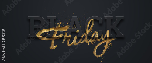 Black friday sale inscription gold letters on a black background, horizontal banner, design template. Copy space, creative background. 3D illustration, 3D design. - 287923437