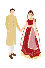 Beautiful Indian Couple Bride And Groom In Traditional Wedding Sari Dress Eps10 Vec