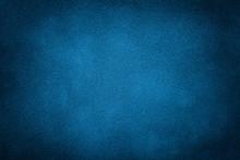 Dark Blue Matte Background Of Suede Fabric, Closeup.