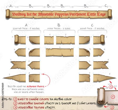 Fototapeta Papyrus Tittle Scroll Tags -  Building Kit obraz
