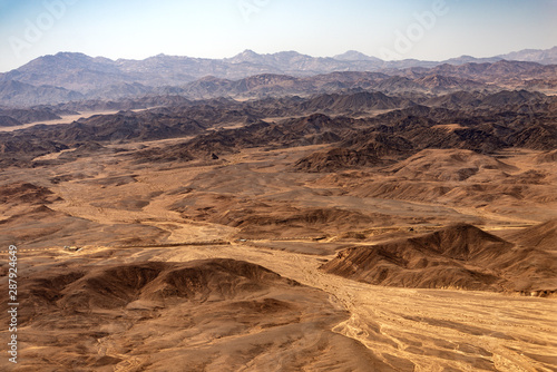 Aerial view of the Sahara desert between the river Nile and the Red Sea. Egypt  Africa