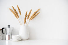 White Home Decor, Coffee Maker, Ceramic Vase And Cup On Tabletop, Contemporary Interior
