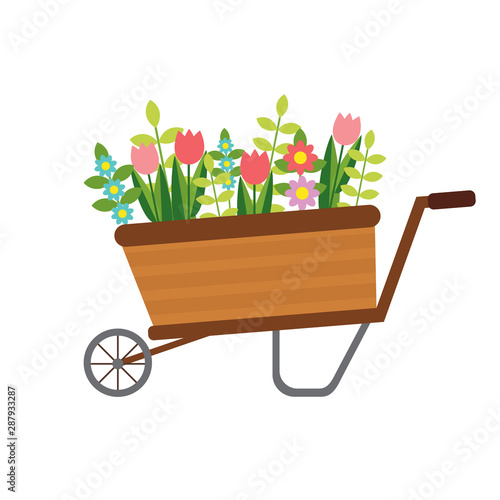 Photo vector flat wheelbarrow with flowers