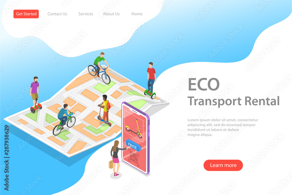 Fototapety, obrazy: Isometric flat vector landing page template of city eco transportation, rent online service, urban eco-friendly transport.