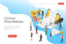 Isometric Flat Vector Landing Page Template Of Internet Press Release, News Article Service, Digital Marketing Campaign.