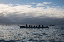 A Group Of Rowers In A Pilot Gig On The Atlantic Ocean
