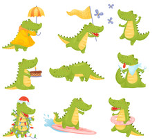 Set Of Cute Humanized Crocodil...