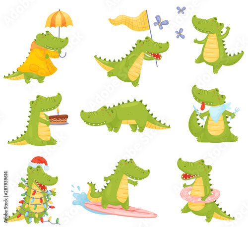 Foto Set of cute humanized crocodiles in different situations