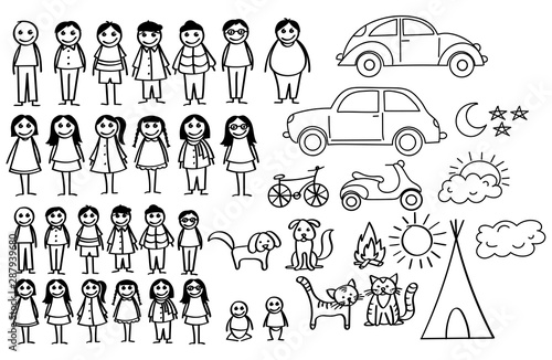 Stampa su Tela Set of happy cartoon doodle figure family, stick man
