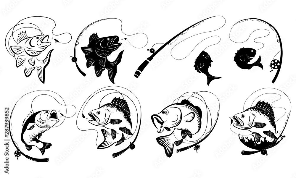 Fototapeta Set of fishing illustrations. Collection of fish hooked. Black white vector illustration for fishing. Tattoo.