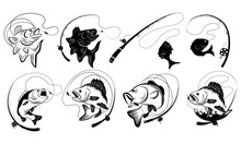 Set Of Fishing Illustrations. Collection Of Fish Hooked. Black White Vector Illustration For Fishing. Tattoo.