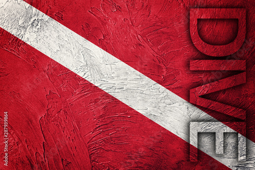 Fototapety, obrazy: Vintage style scuba flag. Diver down flag