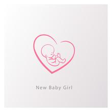 Emblem With Newborn Girl In Heart Shape.