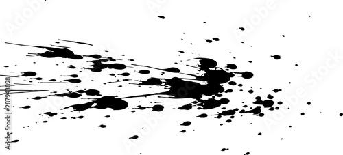 Fotomural  Black paint, ink splash, brushes ink droplets, blots