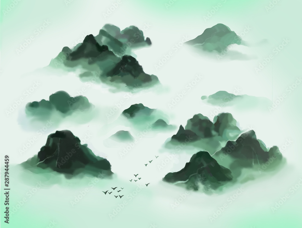 Lan, Mountain, Ink Painting, Chinese Painting, Ink and wash, Artistic conception, Freehand brushwork, Aestheticism, Landscape, Nature, Castle Peak, Mount Tai, Mount Lushan, Mount Wuyi, Taihang, Mount