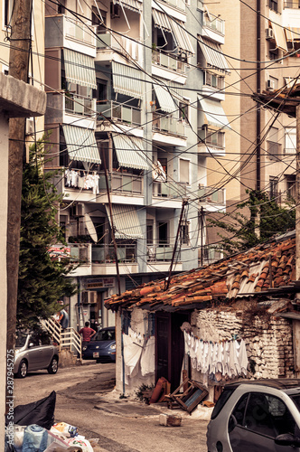 Durres Albania - 2 september 2019: old semy ruine house in center of Durres Canvas Print