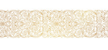 Vector Line Art Floral Gold Se...