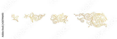 Photo Vector line art floral gold decoration, vignettes