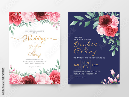 Wedding Invitation Cards Template Set With Watercolor