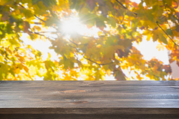 Wooden tabletop and natural blur autumn background. Fall.