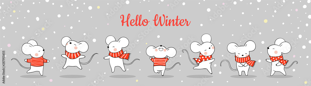 Fototapety, obrazy: Draw banner cute rat in snow for Christmas and New year.