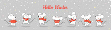 Draw Banner Cute Rat In Snow For Christmas And New Year.