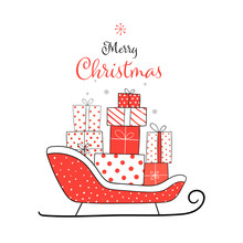Draw Presents In Santa Sleigh For Christmas.