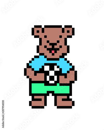 Brown Bear Holding A Soccer Ball Pixel Art Character