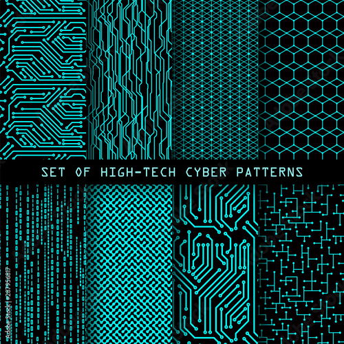 Cadres-photo bureau Artificiel Set of seamless cyber patterns. Circuit board texture. Digital high tech style vector backgrounds.