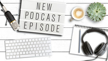 Podcasting Concept, Top View O...