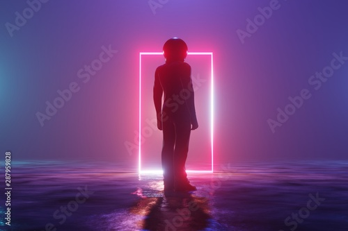 Fotografia Silhouette man astronaut stands on an alien planet in front of a luminous neon rectangle