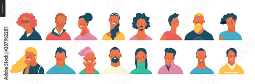 Fototapeta Bright people portraits set - hand drawn flat style vector design concept illustration of young men and women, male and female faces and shoulders avatars. Flat style vector icons set obraz