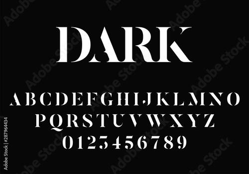 Fototapeta Elegant modern stencil font with serifs